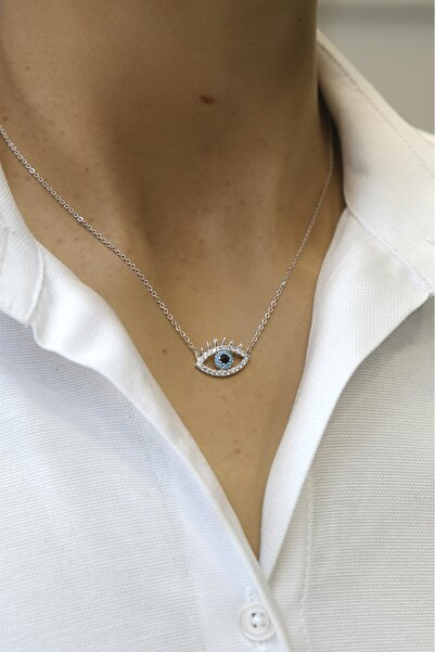 Marjin Kadın Zirkon Taşlı Nazarlıklı Göz Figürlü Gümüş Renkli Kolyegümüş