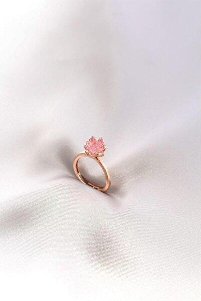 Adelita Açık Pembe Renk Lotus Çiçeği Ayarlamalı Yüzük