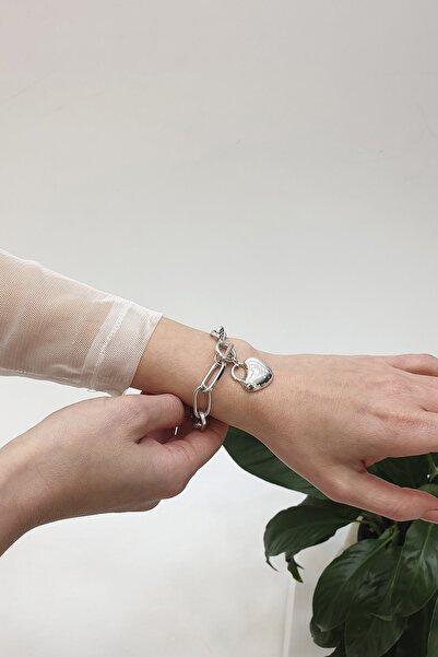 Marjin Kadın Kalp Figürlü Önden Kilitli Gümüş Renkli Zincir Bileklikgümüş
