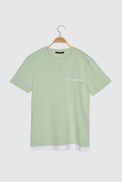 TRENDYOL MAN Mint Erkek Slim Fit Bisiklet Yaka Kısa Kollu Cepli T-Shirt TMNSS21TS1220