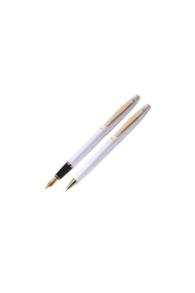 Scrikss 35 Dolma Kalem Ve Tükenmez Kalem Seti Beyaz Altın