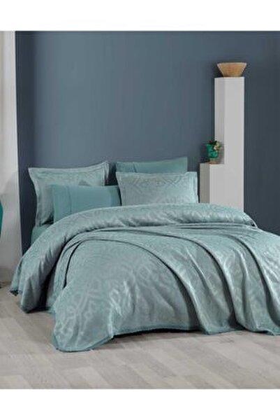 Yatak Örtüsü Takımı Çift Kişilik Pamuk Dantelli Alen Yeşil