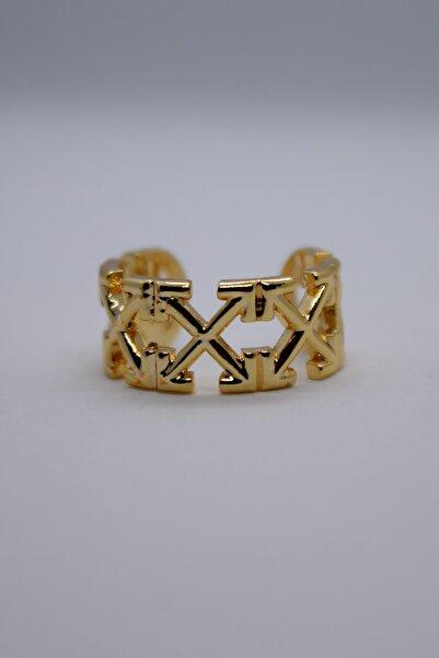 ZİRKONTAŞ Kadın Sarı X Desenli Kıkırdak Gold Küpe