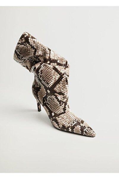 MANGO Woman Kadın Kahverengi Yılan Derisi Desenli Topuklu Bot