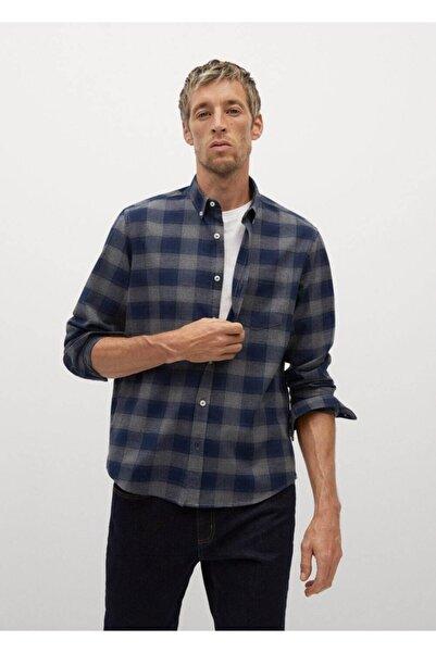 MANGO Man Erkek Lacivert Regular Kesim Kareli Pamuklu Gömlek