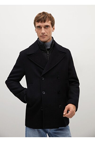 MANGO Man Erkek Siyah İçi Yelekli Yün Palto