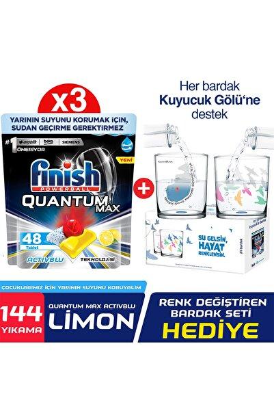Finish Quantum Max 144 Kapsül Limon Bulaşık Makinesi Deterjanı Tableti (48x3) + Paşabahçe Bardak Hediyeli