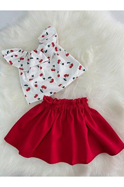 Moda Lina Kiraz Desen Etek Bluz Takım