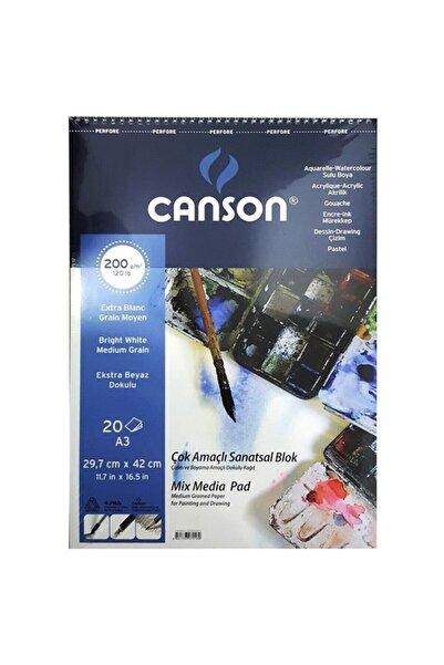 Canson Mix Media Spiralli Çizim Defteri 200g A3 20 Yaprak