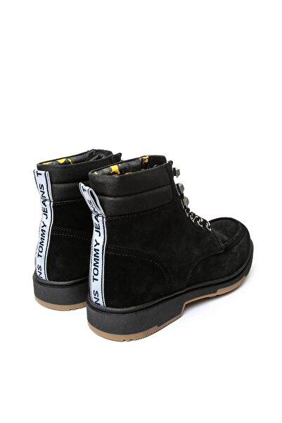 Tommy Hilfiger Siyah Erkek Outdoor Bot Em0em00171 990 Tommy Hılfıger Casual Outdoor Lace Up Boot Bla