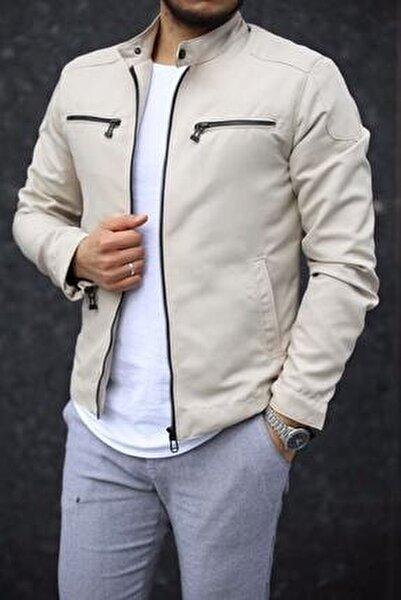 Erkek Bej Renk Fermuar Detay Baharlık Ceket