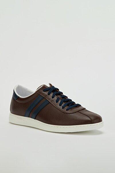 MUGGO Erkek Kahverengi Hakiki Deri Sneaker Ayakkabı Mgversay02