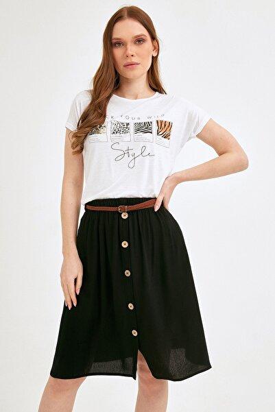 Fulla Moda Kadın Beyaz Baskılı Tshirt