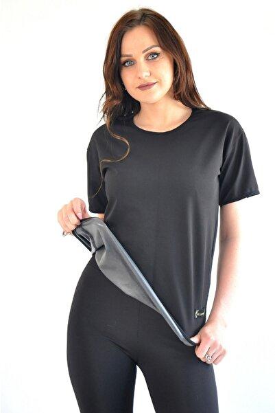 lovebox Büyük Beden Terleten Yağ Yakan Zayıflatan Sauna Termal Kısa Kollu T-shirt Ve Tayt Kadın Takım