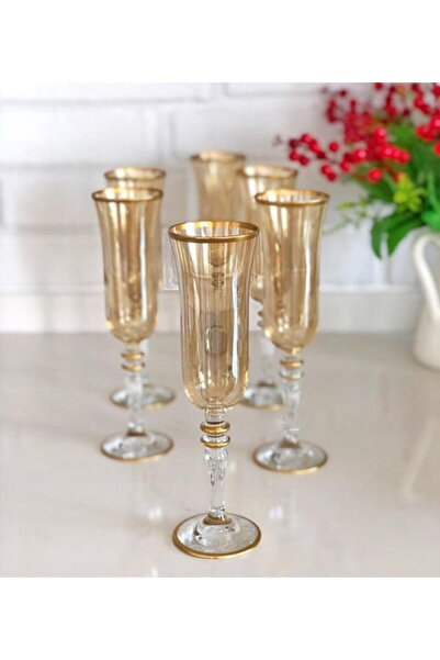 Paşabahçe El Dekorlu 6 Kişilik Gold Kahve Yanı Kadeh Cam Su Bardağı Seti, Çeyizlik Set, Hediyelik Set