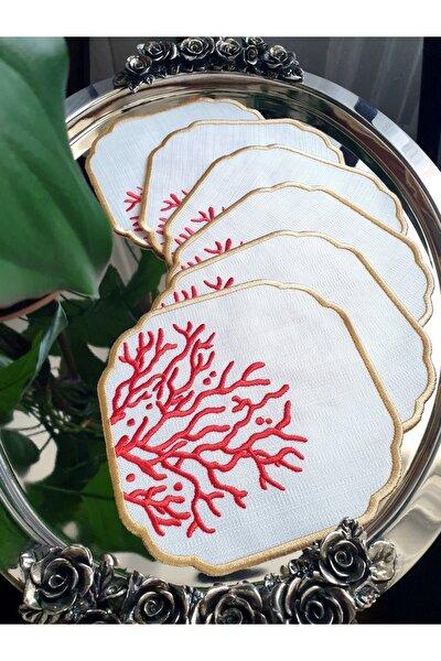 Tanem Home Mercan Nakışlı Gardenya Keten Kumaş Kokteyl Peçetesi, Bardak Altlığı 6'lı Set