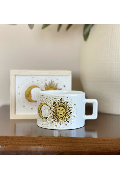 Gift Moda Tarot Ay Ve Güneş Tasarımlı Kutulu Kupa