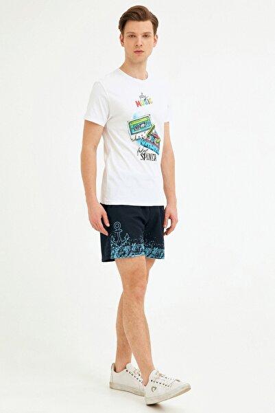Fulla Moda Erkek Lacivert Çapa Baskılı Deniz Şortu