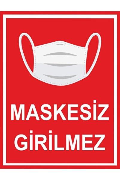 unifol Maskesiz Girilmez Sosyal Mesafe Yapışkanlı Etiket /25cm X 19 Cm
