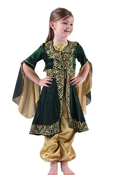 ceocuk Yeşil Çocuk Kaftan Bindallı Kına Elbisesi