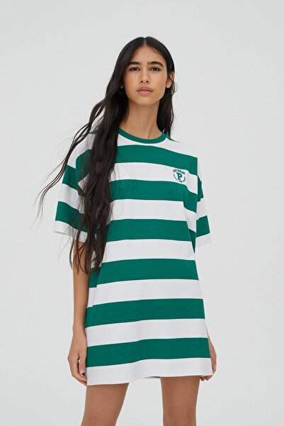 Pull & Bear Kadın Beyaz Yeşil Çizgili İşlemeli T-Shirt Elbise 04241322