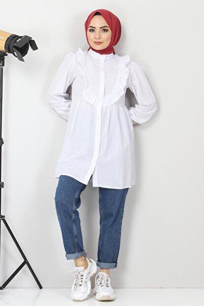 Tesettür Dünyası Önü Fırfırlı Tunik Tsd1000 Beyaz