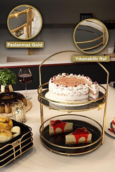 Bino Servis Sunum Ikramlık Gold Lüx 2 Katlı 40 Cm Organizer Sofra Mutfak Düzenleyici Pasta Standı