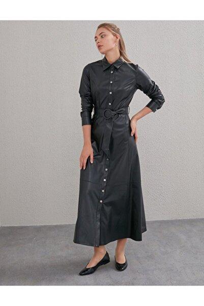 Kayra Kemerli Deri Elbise Siyah A20 23030