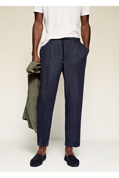 MANGO Man Erkek Lacivert Pilili Keten Pantolon