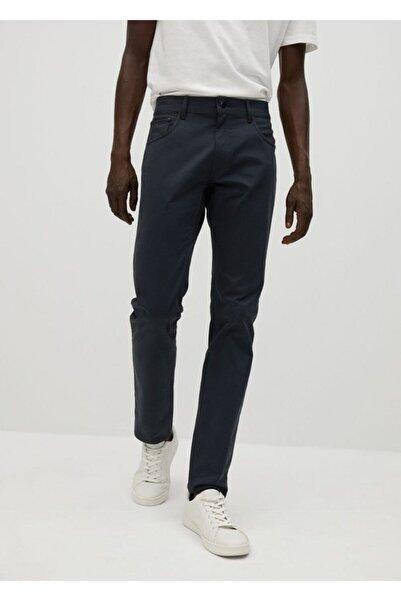 MANGO Man Erkek Lacivert Dar Kesim Denim Görünümlü Serj Pantolon  77001006