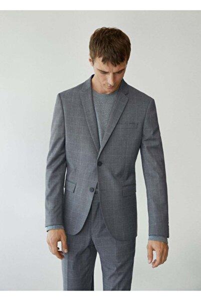 MANGO Man Erkek Gri Süper Dar Kesimli Kareli Tailored Blazer Ceket