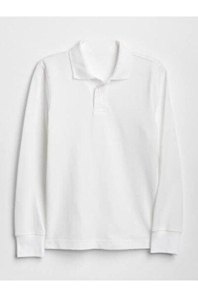 nacar çarşı Unısex Beyaz  Uzun Kol Lakost  Polo Yaka T-shirt