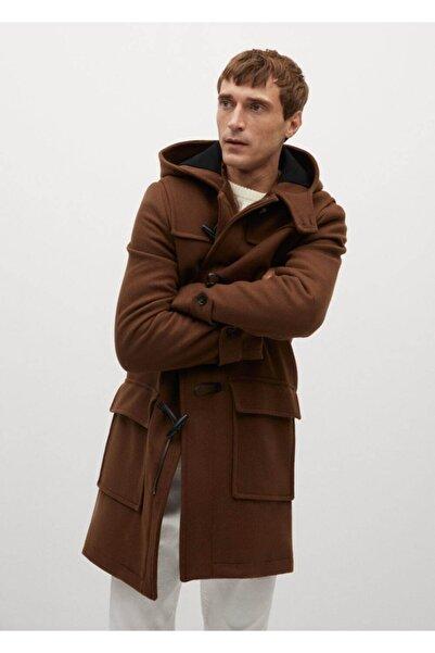 MANGO Man Erkek Turuncu Geri Dönüştürülmüş Yünlü Uzun Palto