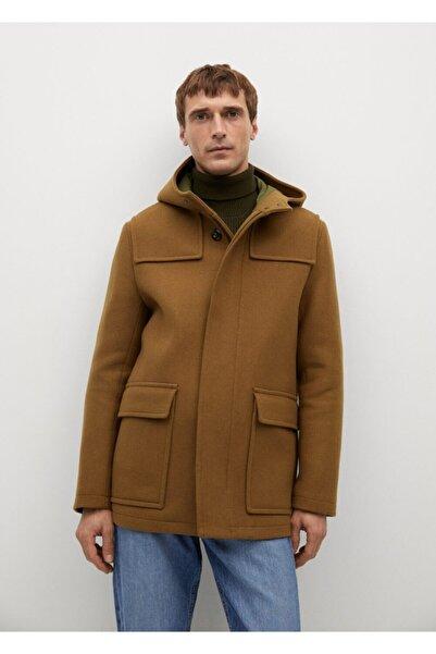 MANGO Man Çıkarılabilir Kapüşonlu Yün Palto