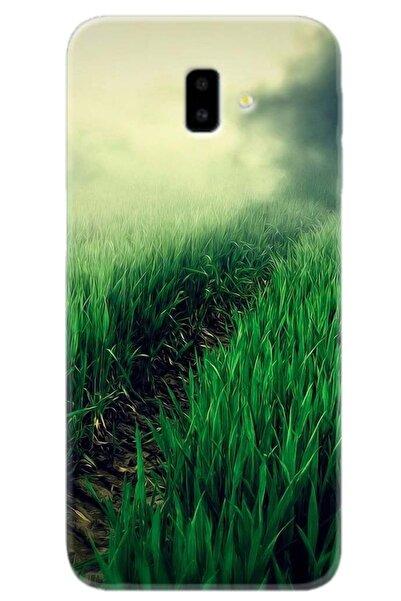 Turkiyecepaksesuar Samsung Galaxy J6 Plus Uyumlu Desenli Kılıf + Tam Ekran Kaplayan Kırılmaya Dayanaklı 5d Cam