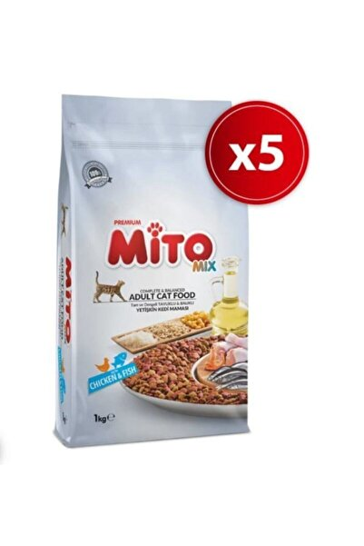 Mito Mix Adult Cat Tavuklu Ve Balıklı Renkli Taneli Yetişkin Kedi Maması 1 kg x 5 Adet