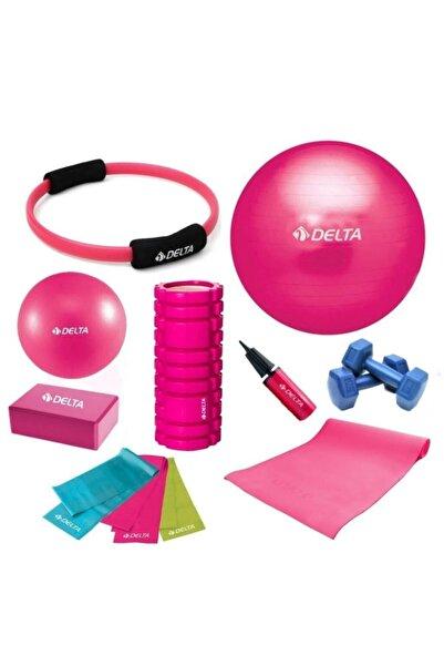 Delta 55-20cm Pilates Topu Minderi Foam Roller Yoga Blok Bant Set