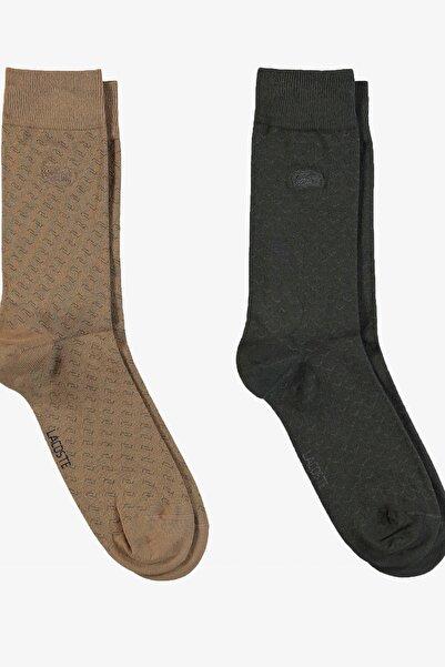 Lacoste Unisex Uzun Desenli Bej - Haki 2'li Çorap