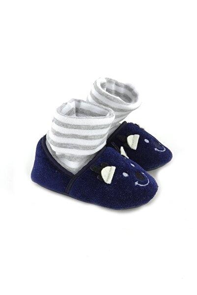 Funny Çoraplı Gülen Yüz Bebek Patiği-lacivert
