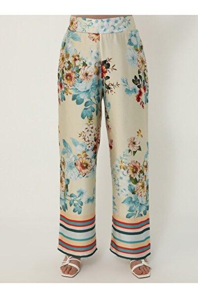 ALİA Büyük Beden Çiçek Desenli Pantolon