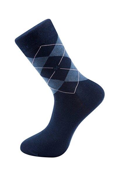 Hemington Baklava Desenli Yazlık Lacivert Pamuk Çorap