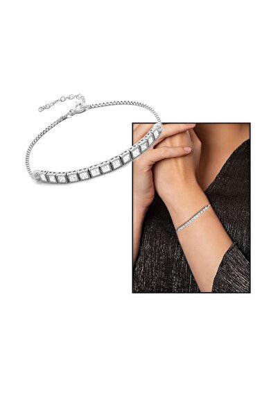 Tesbihane Zirkon Taşlı Kare Tasarım Basic Model 925 Ayar Gümüş Kadın Bileklik