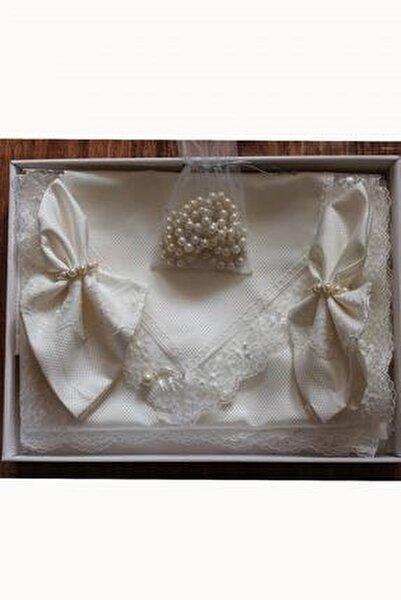 Kırık Beyaz Pitikare Masa Örtüsü Takımı 12 Kişilik 26 Parça 160x260 cm