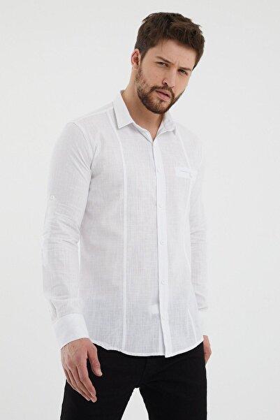 Giyenbilir Erkek Keten Gömlek Beyaz