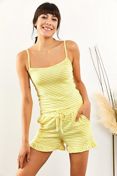 Olalook Kadın Sarı Çizgili Fırfırlı Pijama Takımı PJM-00000014