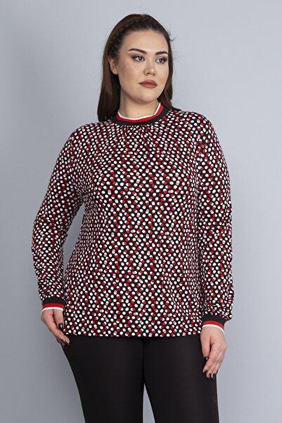 Şans Kadın Kırmızı Yaka Ve Kol Ağzı Ribana Detaylı Puan Desenli Bluz 65N22807