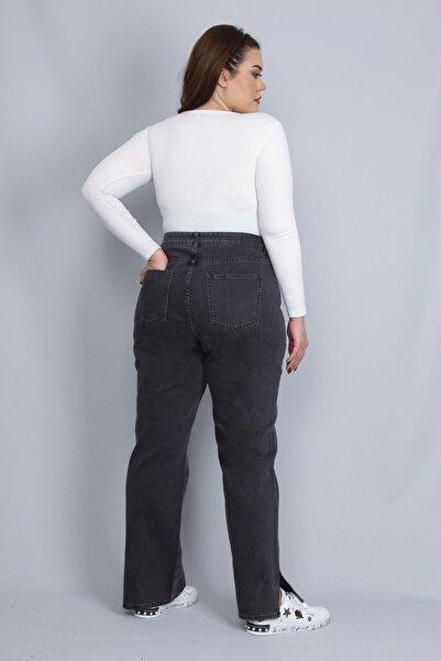 Şans Kadın Antrasit Paça Yırtmaç Detaylı 5 Cepli Kot Pantolon 65N22761
