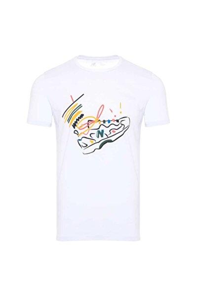 New Balance Kadın Beyaz Baskılı Tişört Mpt1116-wt