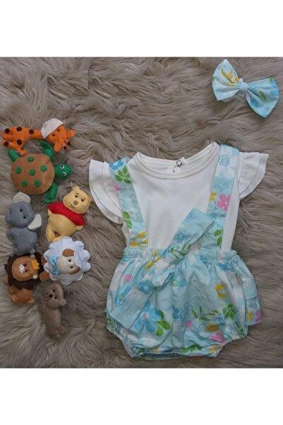 Ellies Kids Bebek Mavi Şortlu Romper Takım 3'lü