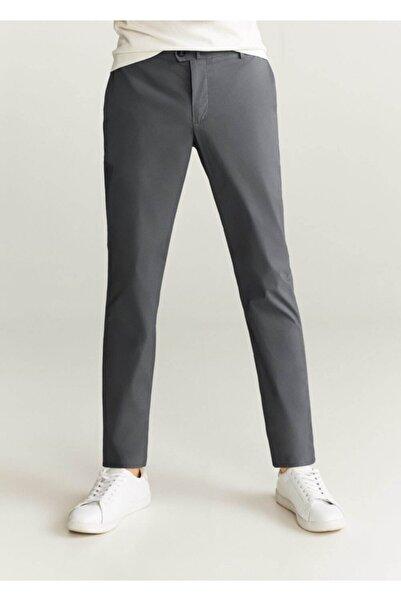 MANGO Man Erkek Gri Düz Kesimli Tebeşir Çizgili Pantolon  77002878